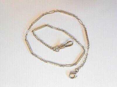"Vintage 10K White Gold Pocket Watch Chain 12.5"" Engraved Etched Bar Link"