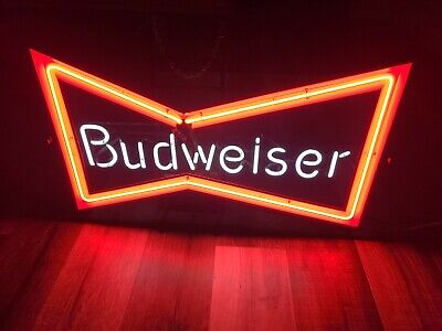 Vintage Budweiser Beer Bow Tie Neon Bar Advertising Sign! RARE 1989