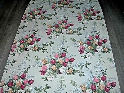 Vintage 50s green/grey & coloured bunches of tulips cotton fabric curtain length
