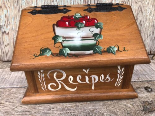 Vintage Wooden Recipe Box, Handpainted with Apples