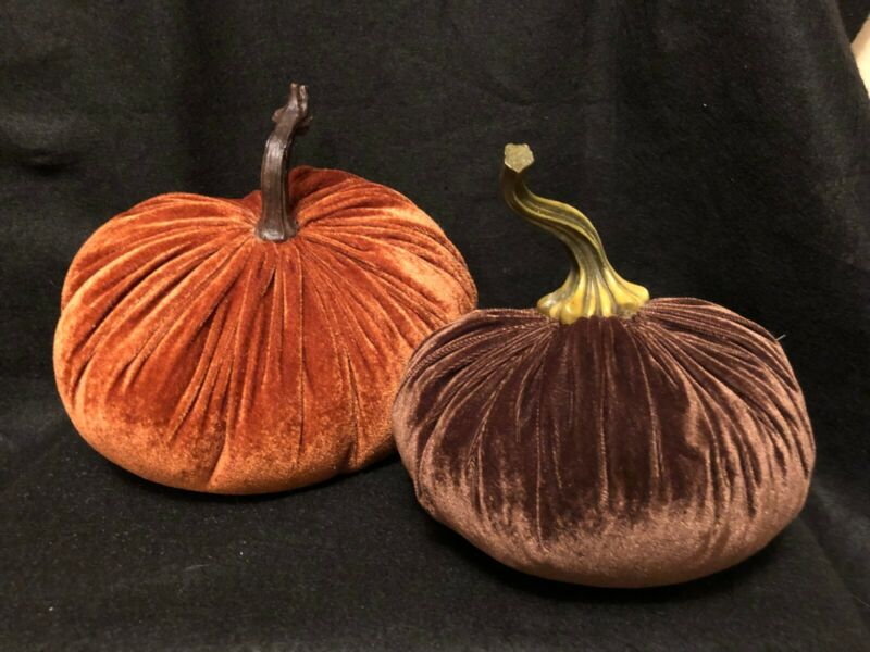 Velvet Decorative Pumpkin Pair Large in Orange Rust and Brown w/ Stems