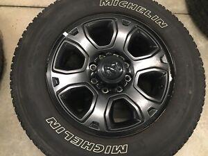 "Dodge 8 bolt black wheels and tires. 20"""