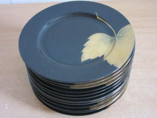 """Set of 13 Fitz and Floyd """"Golden Leaf"""" #490, Japan Porcelain 7.5"""" salad plates"""