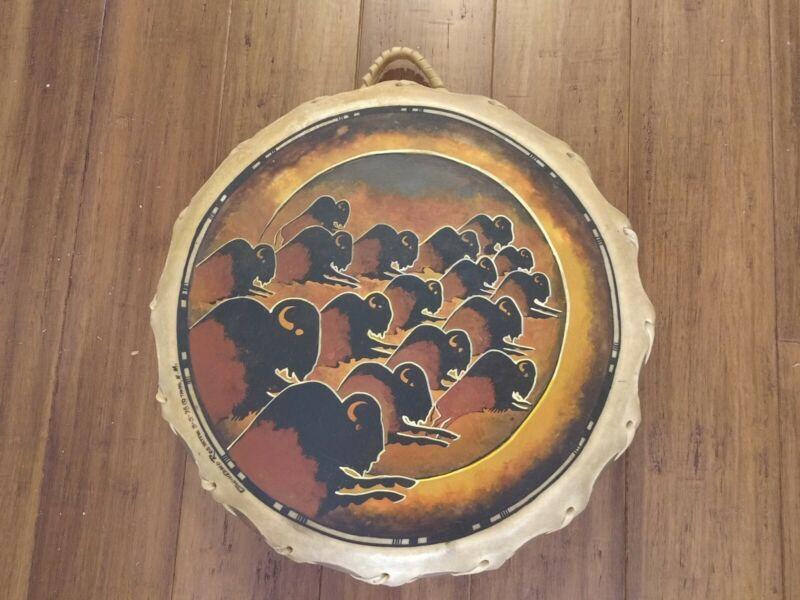 Guillermo Rosette Native American Artist Ceremonial Drum- 1998 vintage signed!