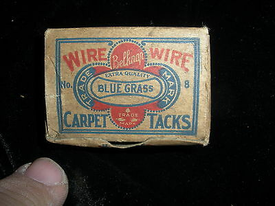 TA003 - Blue Grass Carpet Tacks Box Size 8, Vintage 1930's to 1950's Advertising