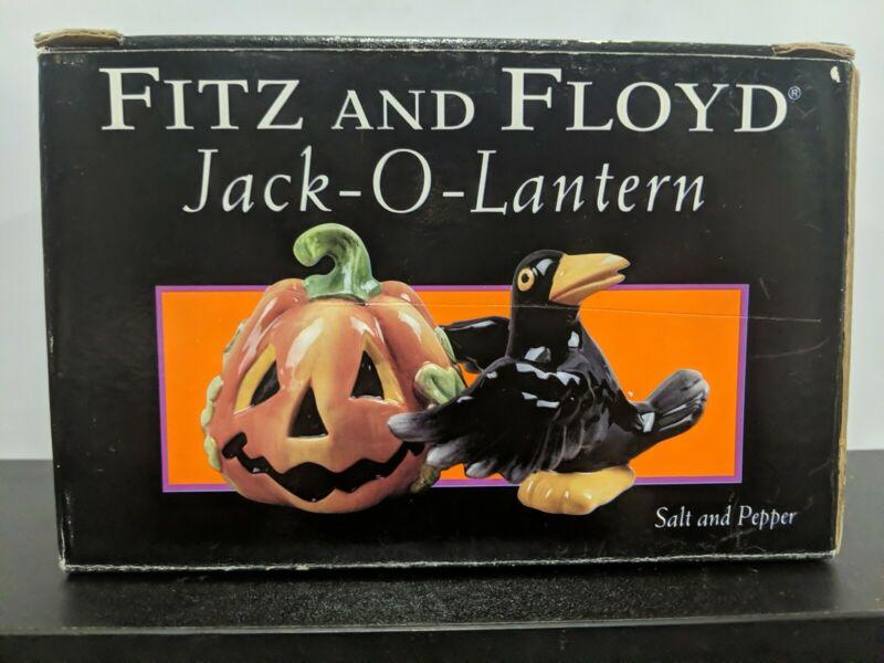 "Fitz & Floyd Jack-O-Lantern Salt and Pepper Ceramic Shakers 3"" - Pumpkin & Crow"