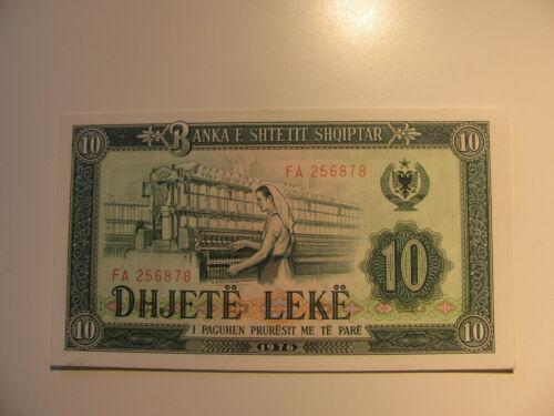 1976 ALBANIA 10 LEKE NOTE  UNC