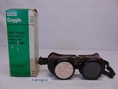Vintage Msa Brown Welders Goggle Cover Sh 6 In Box Mine Safety 791030