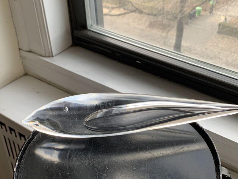 "KOSTA BODA MID CENTURY GLASS FISH SCULPTURE VICKE LINDSTRAND 10 1/2"""
