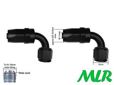 MLR AN -8 JIC 90° DEGREE BLACK OIL COOLER REMOTE FILTER HOSE PIPE FITTINGS PAIR