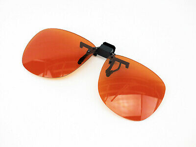 Large Clip On Flip Up Fit Over Shield Glasses Sun Driving Blue Block Amber (Blue Clip On Sunglasses)