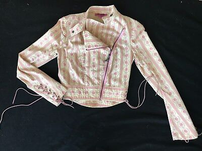 Betseyville pink/ivory ticking stripe/floral cotton girly moto jacket + lacing-6](Combat Boots Girly)