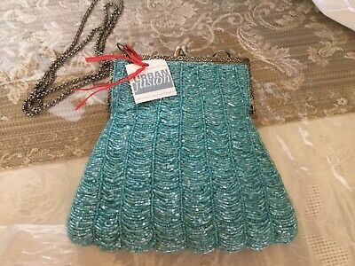 Urban Fusion Beautiful Aqua/Turquoise Beaded Bag With Silver (Silver Turquoise Bag)
