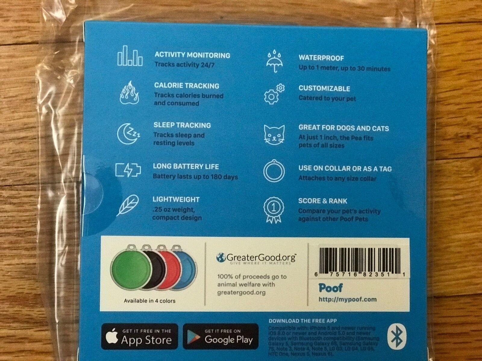 Poof Pea Activity Tracker, Blue, Cat/dog, Monitors Sleep And Activity, New - $29.99