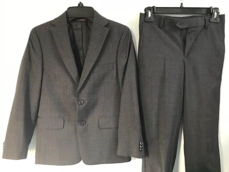 Michael Kors Boys Gray Plaid Suit Coat & Slacks Pants 10r Euc