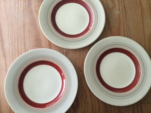 "LOT of 3: SUSIE COOPER Wedding Rings Tan & Maroon 10"" Dia. Dinner PLATE ENGLAND"