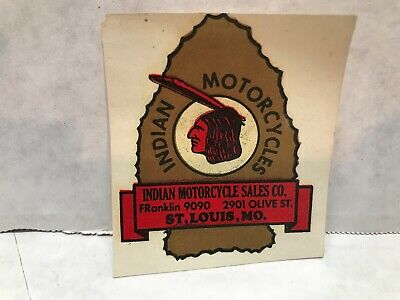 """VINTAGE 1940'S INDIAN MOTORCYCLES ST. LOUIS, MO WATER TRANSFER DECAL 2.5"""" X 2.25"""