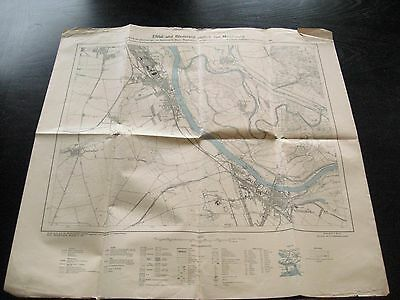 alte Karte Landkarte Elbtal und Börderand südlich von Magdeburg von 1927