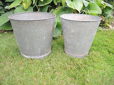 2 Genuine Vintage Galvanised Flower Bucket  Garden Planters  28 cm high  (b)