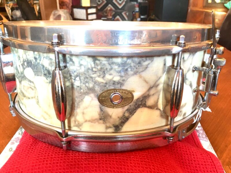 """Slingerland 50s Radio King 5.5""""x14"""" Snare, Rare White Marble Lacquer"""