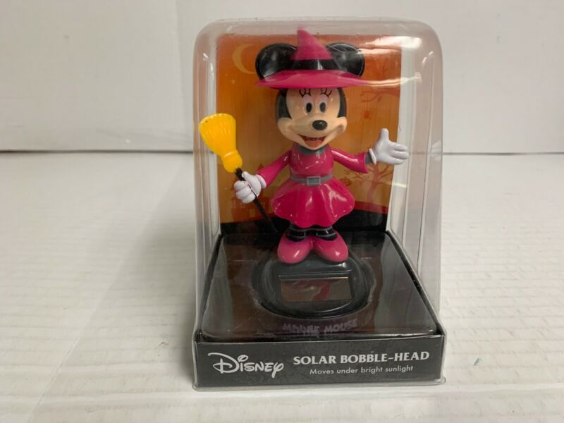 Disney Minnie Mouse Solar Bobble Head Bobbler Halloween NEW