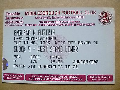 Ticket- U-21 International Match ENGLAND v AUSTRIA, 14 November 1995