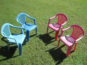 Child's Plastic Chairs / Kids Plastic Chairs Qty 4 - Blue & Pink Brassall Ipswich City Preview