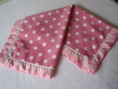 Handmade Baby bedding Lovely Soft Pink spotted Fleece-Pink/White Satin Binding