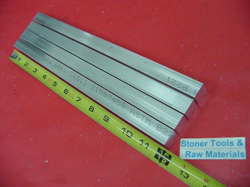 "4 Pieces 5/8"" X 5/8"" ALUMINUM 6061 SQUARE FLAT BAR 12"" long T6511 New Mill Stock"