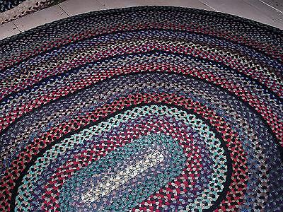 "Vintage Antique Hand Handmade Oval Wool Braided Rug 8'2"" X 7'5"""