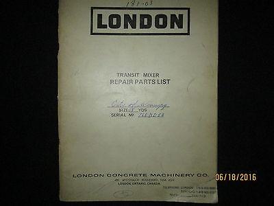 London Cement Truck Mixer Operating Instructions Repair Parts Manual Original