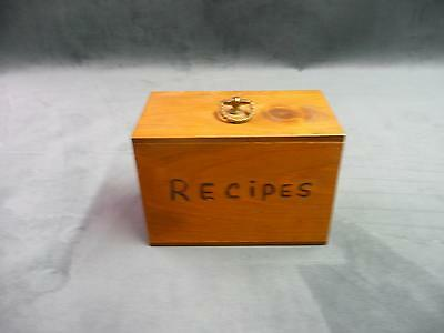 Vintage wooden recipe box with plastic sleeves for recipe cards kitchen cooking