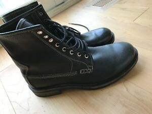 Black leather combat style boots