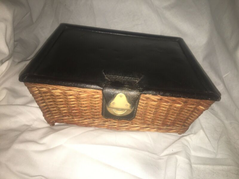 ANTIQUE MARK CROSS LEATHER & WICKER SEWING BOX WOOD FEET ENGLAND GALVESTON TEXAS