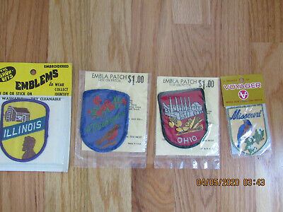 Vintage Voyager Show Offs State Patches Missouri Illinois Michigan Ohio Lot NOS