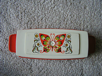 Vintage 1970's STERILITE Orange Plastic Butter Dish with Butterfly Design