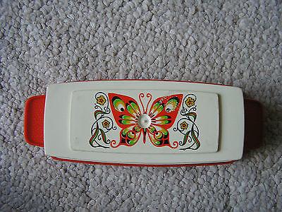 Vintage 1970's STERILITE Orange Plastic Butter Dish with Butterfly Design
