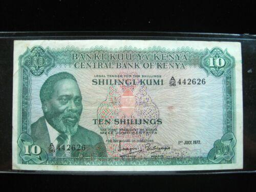 KENYA 10 SHILLING 1972 26# BANK CURRENCY BANKNOTE MONEY