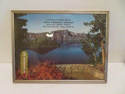 VINTAGE glass advertising thermometer JOE;S FRIENDLY MARKET 1964 calendar