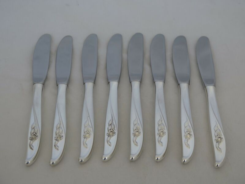 Set of 8 Wallace Sterling Silver Penrose Butter Spreaders