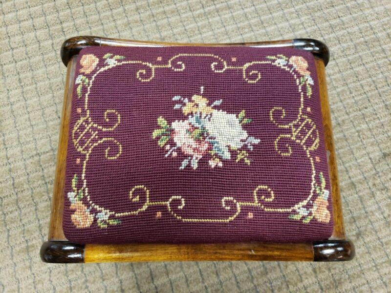 Vintage Unmarked Wooden Footstool With Needlepoint Embroidered Top