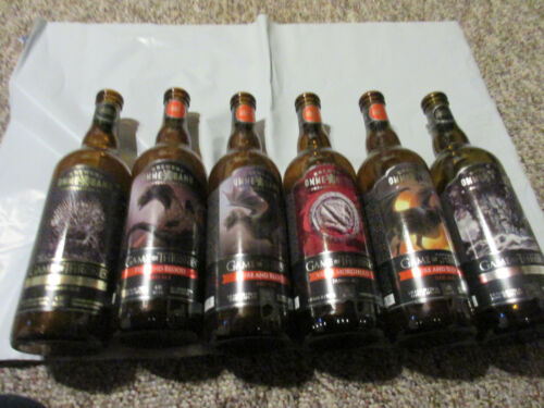 6 Omme gang GAME OF THRONES Beer Bottles (Empty) Fire and Blood Eyed Raven