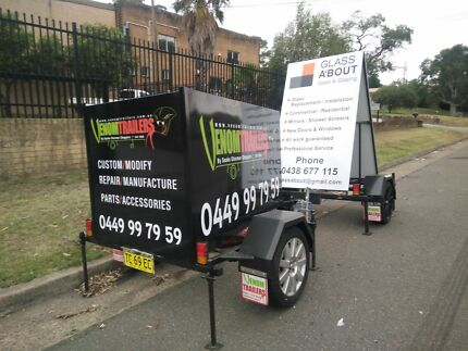 A frame advertising trailers