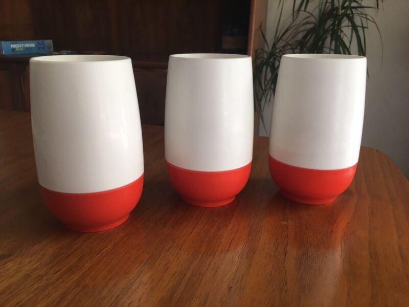Vintage Retro Thermos Plastic Cups Set Of 3 White Orange Mod Insulated