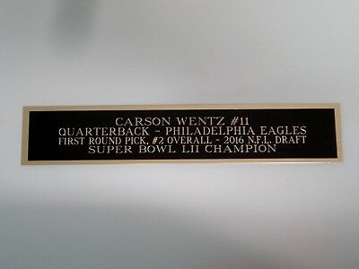Carson Wentz Eagles Engraved Nameplate For A Football Jersey Case 1.25 X 6