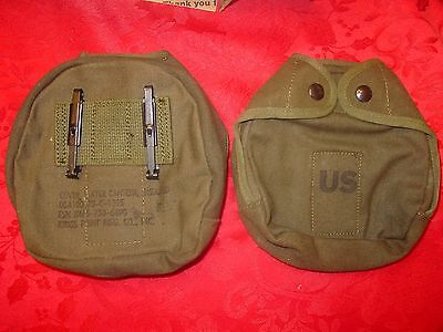 6 USGI MILITARY ARCTIC CANTEEN COVER CANVAS w/ KEEPERS NEW OLD STOCK FREE S&H