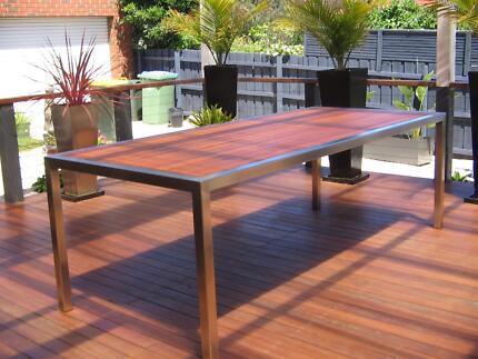 Table 2000x1000 50ML  Stainless Frame/Merbau Slats  BRAND NEW