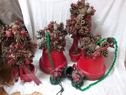 XMAS DECOS. Lge pots and Bells $25 for the lot ( Suit Shop )
