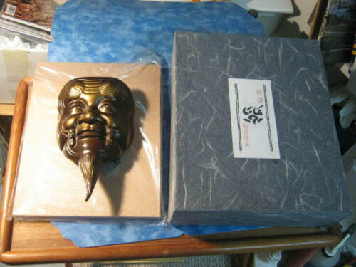 BEAUTIFUL DECORATIVE JAPANESE IRON NOH MASK Okina SIGNED With Gold Board & Box