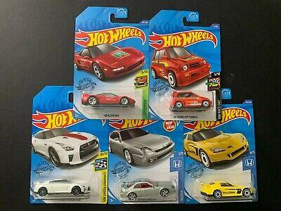 Hot Wheels Honda Prelude, Acura NSX, S2000, Nissan GT-R R35 & City Turbo 1/64